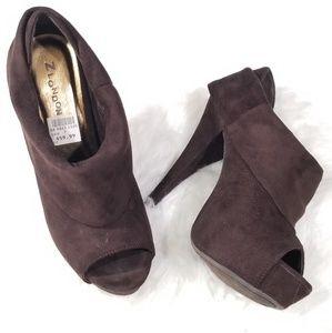Z London suede brown peep-toe ankle booties.Siz 7